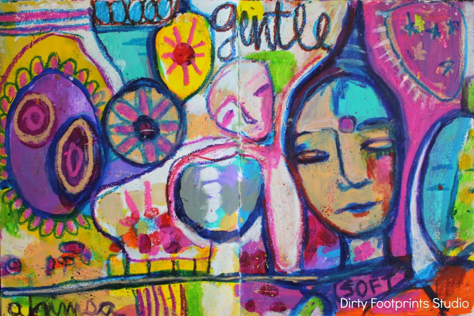 Art Journal Wisdom Day 4 Oil Pastel Love