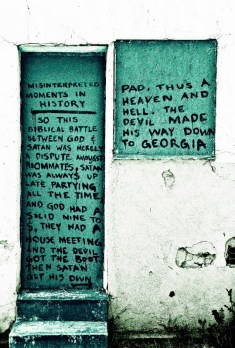 graffiti scrawled on an abandoned home on melrose ave los angeles