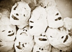 plaster paris masked discarding at a beauty shop.
