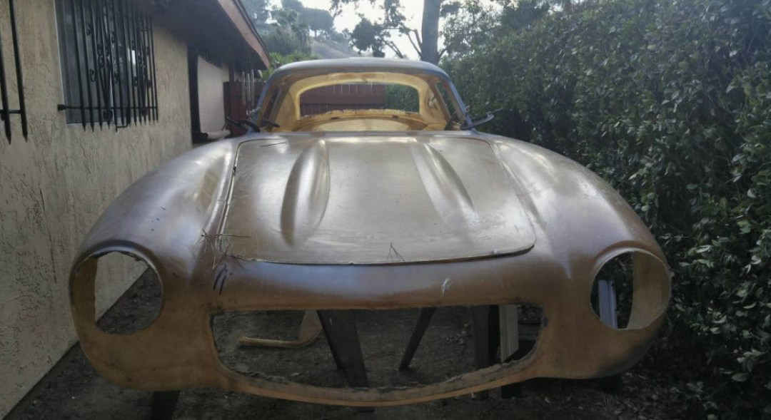 dirtyoldcars.com 1955 Mercedes 300SL Gullwing Fiberglass Body and Frame Found in San Diego 6