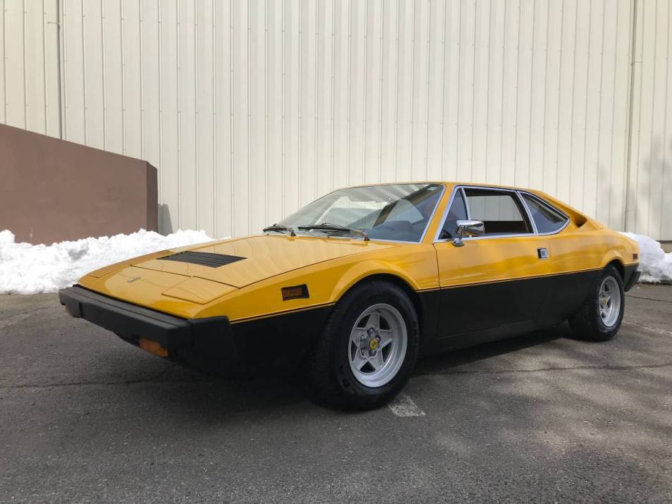 dirtyoldcars.com 1975 ferrari 308GT4 yellow boxer 47k 52k miles connecticut 6