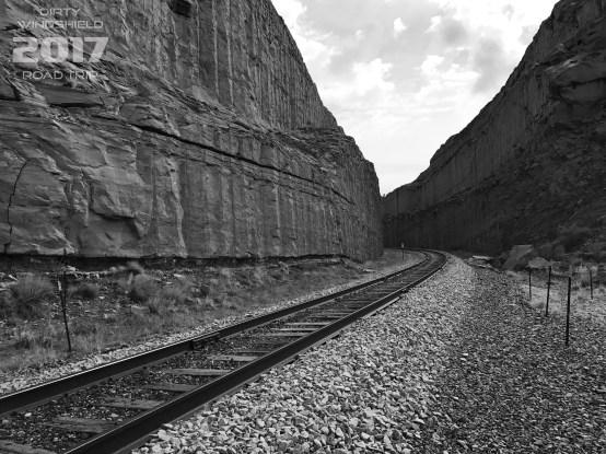 Moab Train Tracks B&W