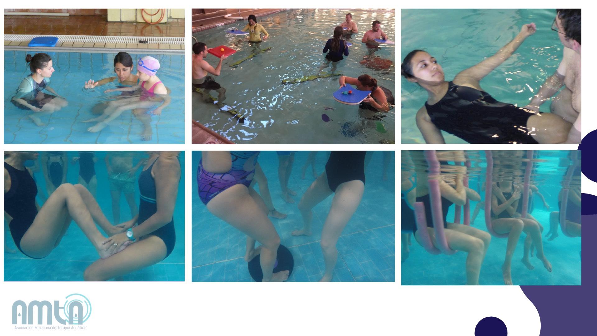 Collage de fotos de terapia acuática, escenas de mujeres, niños y hombres en una alberca haciendo ejercicios terapéuticos. Asociación Mexicana de Terapia Acuática