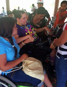 Chantal prays with a group of women on a recent trip to Guatemala