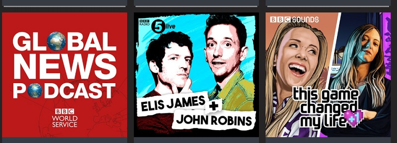 Three images from BBC podcasts