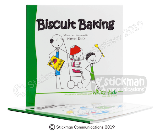 Biscuit Baking book for disabled children with an image of stick people on the front caring a recipe book and wooden spoon
