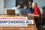 America's Workforce: Empowering All - National Disability Employment Awareness Month - diverse group of people sitting around a conference table looking at laptops, one older individual is in a scooter.