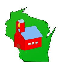 Map of Wisconsin with red schoolhouse