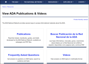 Screenshot of ADA National Network Videos and Publications page
