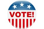 Vote button with stars and stripes