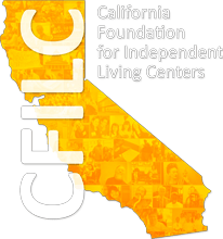 Logo for the California Foundation for Independent Living Centers (CFILC). White background with the state of California in yellow. 'CFILC' is written vertically over the image of the state.