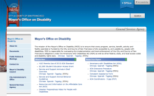 Screen shot from the Mayor's Office on Disability website