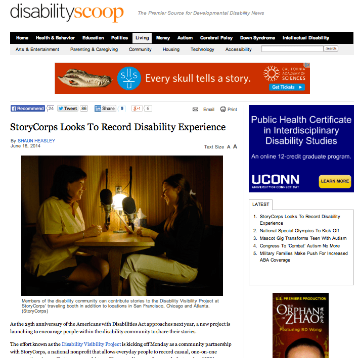 Landmark Disability Screening Program >> In The News Disability Visibility Project