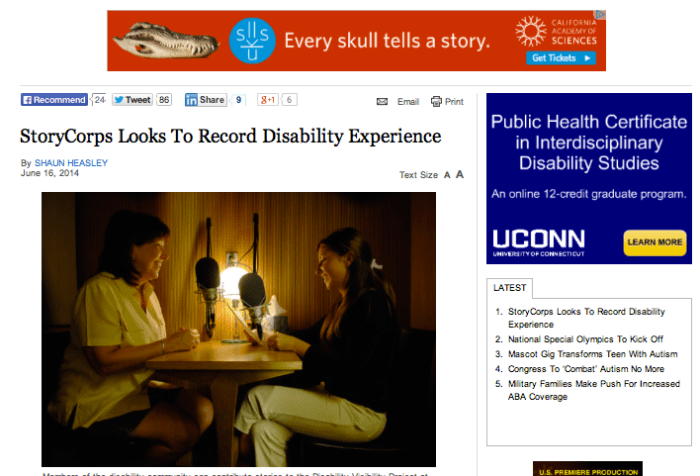 Screenshot of the Disability Scoop website with the headline from the story mentioned in this post.