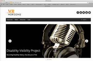 A screenshot from the VR Horizons website featuring an image of a headphones and a microphone with the words 'Disability Visibility Project'