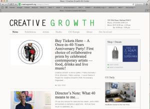 Screen shot from the Creative Growth website: http://creativegrowth.org/category/news/