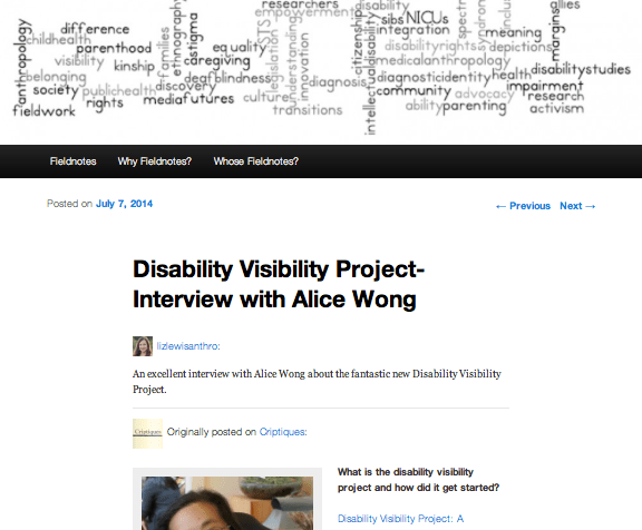 Screen shot from Disability Fieldnotes on July 7, 2014: http://disabilityfieldnotes.com/2014/07/07/disability-visibility-project-interview-with-alice-wong/