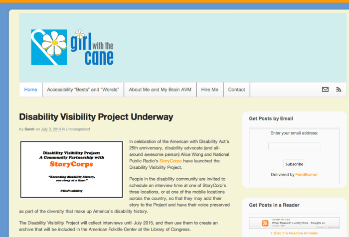 Screen shot from the Girl With The Cane blog: http://www.girlwiththecane.com/disability-visibility-project/