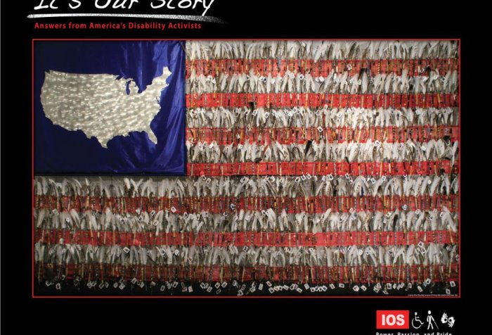 Image for It's Our Story project. You see an American flag with the picture of the United States that's inside the upper right side of the flag instead of white starts. On the right side it says: Power. Passion. Pride.
