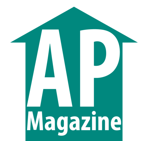 Logo of a sea-green colored arrow pointing upwards. Inside the arrow is the text: AP Magazine