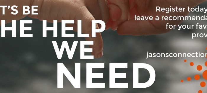Image of a person's hand linking with another's. The text says: Let's be the help we need.