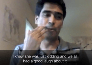 "Photo of a South Asian man using sign language. The caption at the bottom of the image reads ""I knew she was just kidding and we all had a good laugh about it"""