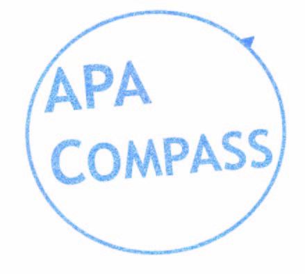A white background with a blue circle and a little needle sticking out like a compass. Inside the circle are the words in blue: APA Compass