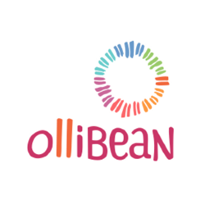 Logo of a white background with the word 'ollibean' in magenta and red letters. Above the word is a circle made with multi-colored lines
