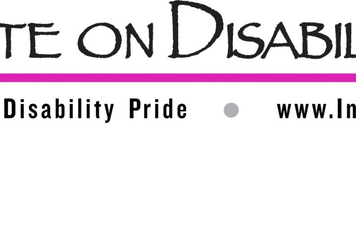 "Logo with a wheelchair icon in magenta pink with a long horizontal line in the ams color. Above the line are the words: ""Institute on Disability Culture"" below the line says ""Promoting Disability Pride www.InstituteOnDisabilityCulture.org"""