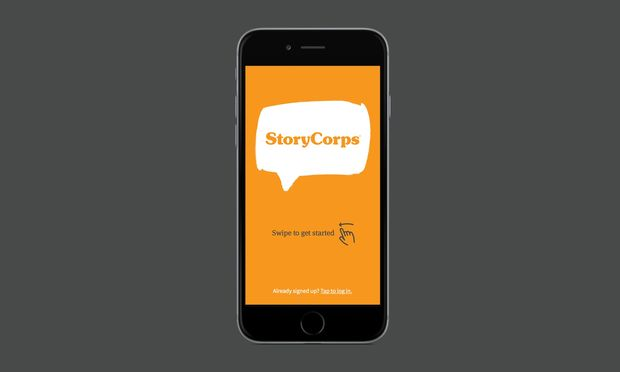 Image of a smartphone with the display showing the StoryCorps App. The display says: StoryCorps, Swipe to get started.
