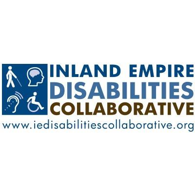 "Logo that reads ""Inland Empire Disabilities Collaborative www.iedisabiliiescollaborative.org"" On the left hand side of the text is a square divided into four quadrants. In the four quadrants are images of the following: a stick figure with a cane, the image of a person's head and brain, an ear with lines indicating audio, an figure of a wheelchair user."