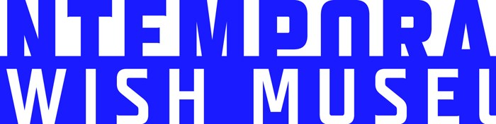 "Text in dark blue that reads: Contemporary Jewish Museum. The words 'Jewish Museum' are in white against a blue background. In smaller words at the bottom row is the phrase, ""connecting art, people, and ideas"""