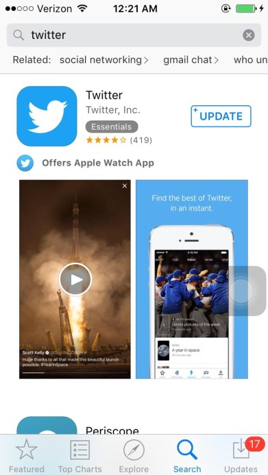 Screenshot of the App Store on an iPhone showing the Twitter app