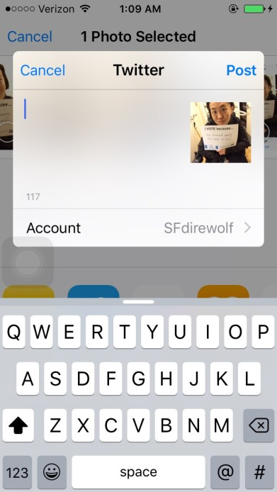 Screenshot of an iPhone that selected a photo to post on Twitter. A small window appears with a keyboard underneath