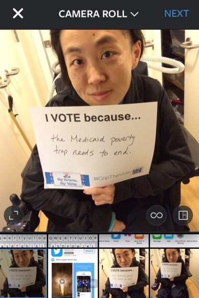 "Screenshot of Instagram with an image open from the phone's Camera Roll showing a photo of an Asian American woman in a wheelchair holding a white piece of paper that says, ""I Vote because...the Medicaid poverty trap needs to end."""