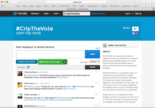 Screenshot from TWUBS.com that shows the live feed of #CripTheVote tweets on Twitter happening in real-time