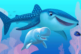 """An animated scene from the Pixar film """"Finding Dory."""" A whale shark, beluga whale saying hello underwater to a small blue tang."""
