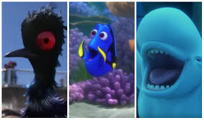 """An animated scene from the Pixar film """"Finding Dory."""" A triptych of 3 characters: Becky the loon, Dory the blue tang, and Bailey the beluga whale"""