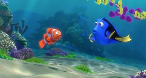 """An animated scene from the Pixar film """"Finding Dory."""" Underwater scene where a clownfish is talking to a blue tang. The blue tang looks confused."""