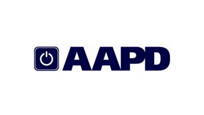 Graphic with a white background. In the center in bold capital letters in dark navy blue: AAPD. To its left is a square image with a white circle inside that looks like an 'on' or 'start' button also in dark navy blue.