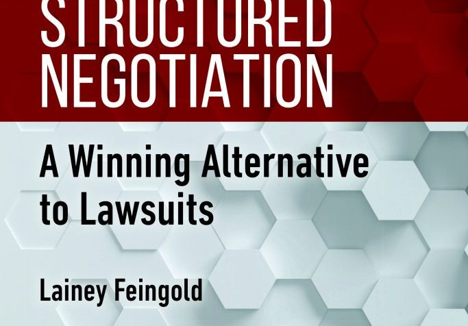 The words Structured Negotiation are printed in large white text on a vibrant red band (color contrast checked for readability). The subtitle appears below in black text, with my name under that. The background of the cover is made up of three dimensional and shaded white and gray hexagons. A hexagon is a six-sided shape. There is text on two of the hexagons on the bottom left corner. One hexagon says ABA Section of Dispute Resolution. The other says ABA Commission on Disability Rights.