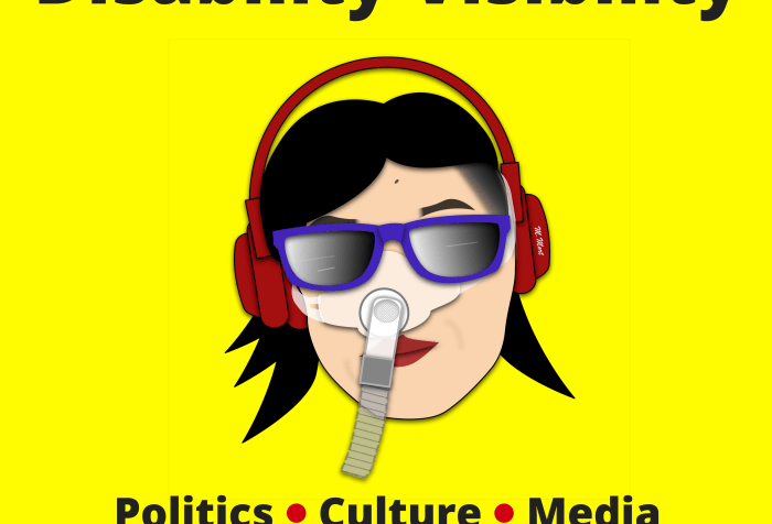 Graphic with a bright yellow background. At the top in black text: 'Disability Visibility'. In the center: illustration by artist Mike Mort featuring an Asian American woman with black hair, red lips, and red headphones over her head. She is wearing a Bi-Pap mask that covers her nose and attached to a gray tube. She is also wearing a pair of purple sunglasses Below in black text: 'Politics Culture Media Hosted by Alice Wong' with a red dot between 'politics' and 'culture' and one between 'culture' and 'media'.