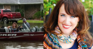 Image description: Two photos side by side. On the left: photo of Angela Wrigglesworth, a woman with brown hair with blonde highlights and blue eyes. She is sitting in a boat submerged in water in a residential neighborhood. Behind her is a house with a red pickup truck in the driveway. Another person is in the boat with her. On the right: A headshot of Angela who is wearing a navy, v-neck shirt and a colorful, striped scarf around her neck. She has brown hair with blonde highlights and blue eyes.