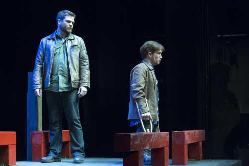 "Paul David Power (Tony) (R) and Pat Dempsey (Evan) (L) perform in ""Crippled"" at the world premiere in St. John's Newfoundland Canada. Photo Credit: Submitted Power Productions."