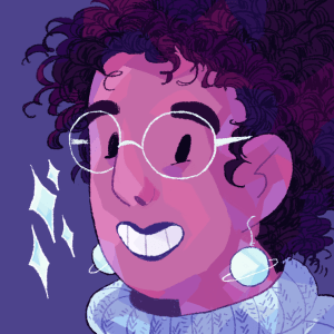 An illustrated headshot of Ashanti Fortson, an Afro-Latinx person with light brown skin and black curly hair. They're wearing light blue planet-shaped earrings, a periwinkle knit turtleneck, and large light blue glasses. They're smiling at the camera, and some sparkles float next to them.