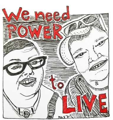 "drawing by Max Airborne of themself with #DisabilityJustice activist Stacey Park, smiling & happy after getting ice cream. Red words say ""we need power to live."""