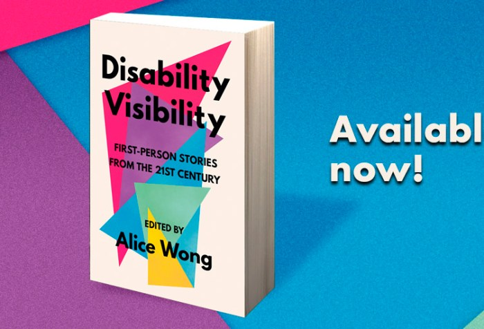 Graphic with a background of overlapping triangles in bright colors with text: Available now! In the middle is an image of a book titled 'Disability Visibility: First Person Stories from the 21st Century Edited by Alice Wong' the book cover has overlapping triangles in a variety of bright colors with black text overlaying them and an off-white background. Book cover by Madeline Partner.