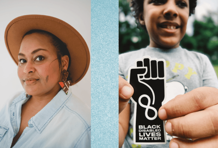 Graphic with a light aqua blue mineral-like background featuring two photos. [left] Photo of Jen White-Johnson, an Afro-Latina woman who is wearing a light blue denim shirt. She has a cinnamon complexion with a small brown birthmark on her left cheek. She is wearing earrings with the raised solidarity fist with an inverted triangle below. She is also wearing a wide-brimmed brown hat. [right] Photo of Knox White-Johnson, a Black Autistic boy smiling and holding a sticker designed by his mother, Jen White-Johnson, an illustration of a raised solidarity fist in black with an infinity symbol at the wrist in white with the words 'Black Disabled Lives Matter' below.