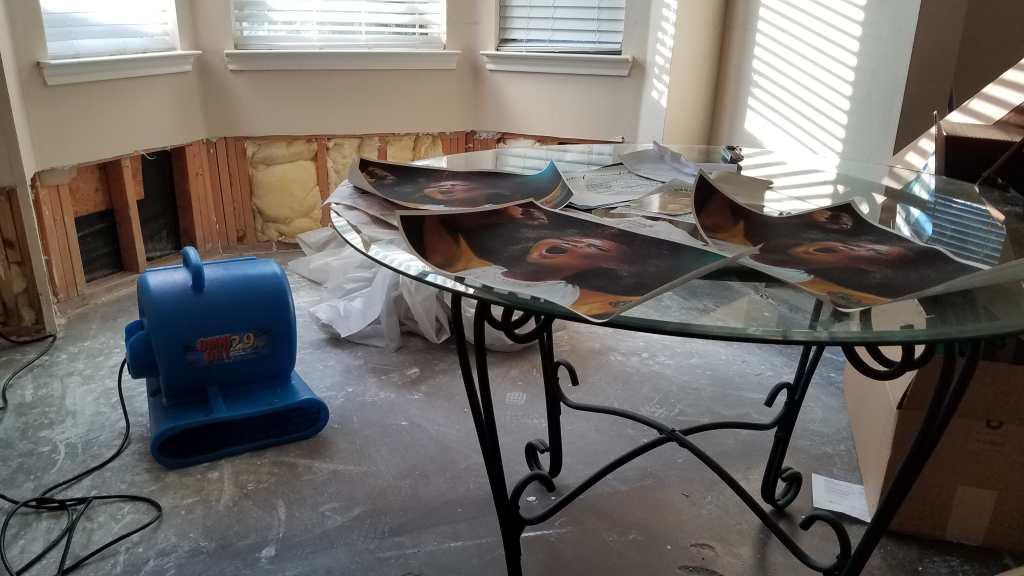 Photo of a living room with gray carpet with water damage. A glass dining table has a series of prints that are warped at the corners from water damage. A blue piece of equipment is plugged in the wall. In the back, the drywall of a wall is exposed showing slats of wood and insulation.