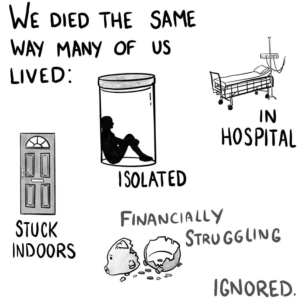 """Panel 3: """"We died the same way many of us lived: in hospital, isolated, stuck indoors, financially struggling, isolated."""" Each point is illustrated with an empty hospital bed, a silhouette sat in a jar, a closed door, a broken sad and very adorable piggy bank with little coins in it, and nothing."""